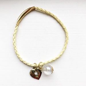 Pale yellow leather & gold heart charm bracelet